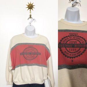 Vintage Esprit color block cropped sweatshirt